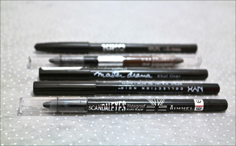 crayon noir, kajal, rimmel, scandaleyes, maybelline, master drama, kiko, nyx, liner, liner noir, urban decay