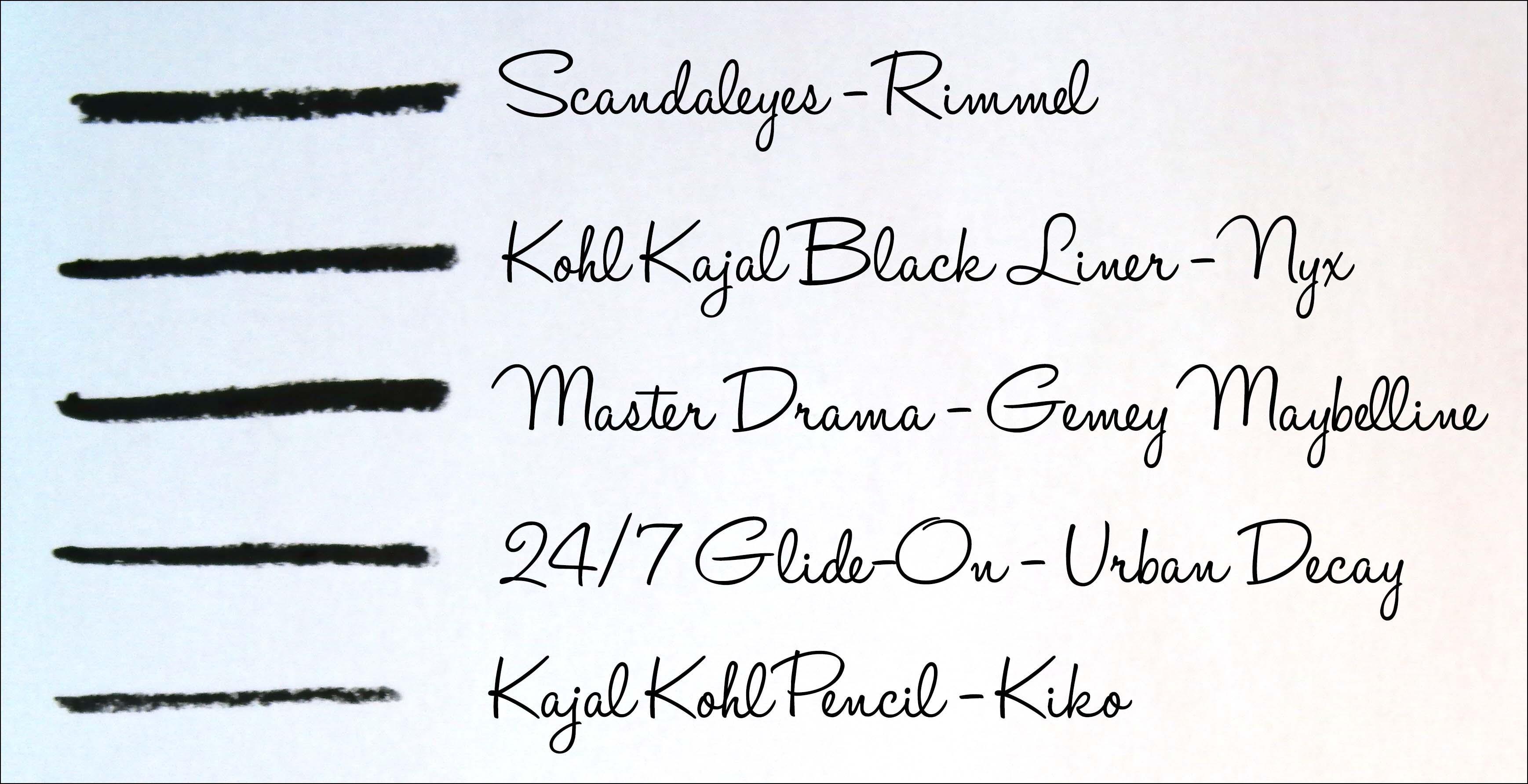crayon noir, kajal, rimmel, scandaleyes, maybelline, master drama, kajal kiko, kajal nyx, liner, liner noir, urban decay