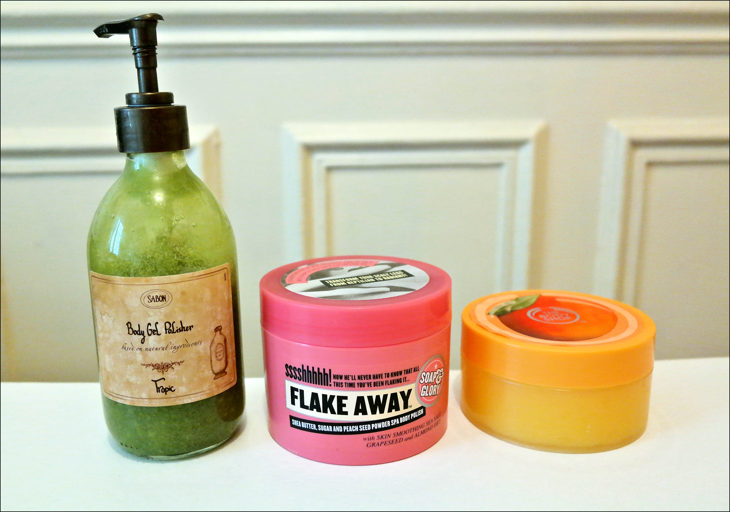 gommage, gommages corps, soap and glory, the body shop, sabon
