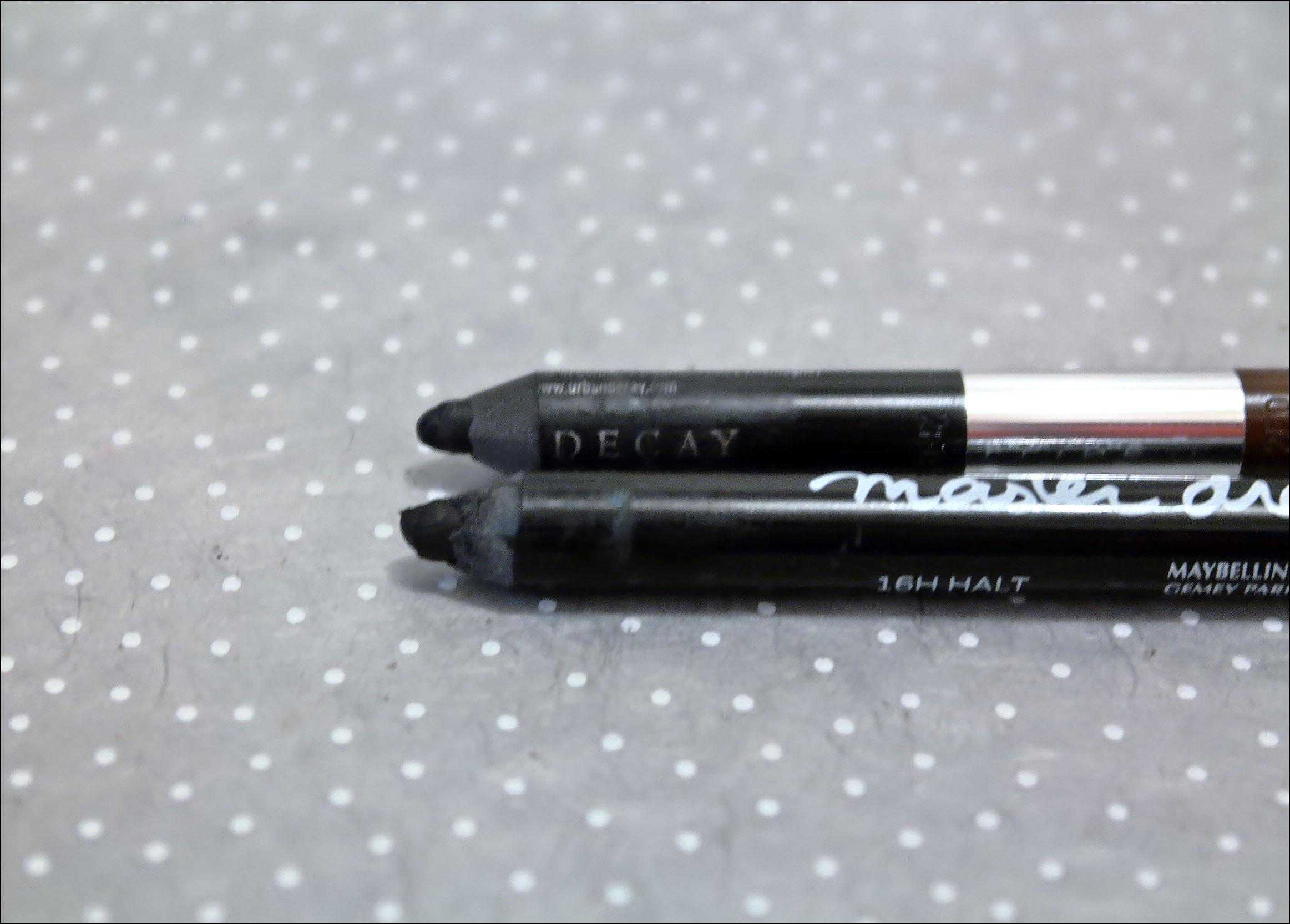 crayon noir, kajal, rimmel, scandaleyes, maybelline, master drama, urban decay, glide on, liner, liner noir